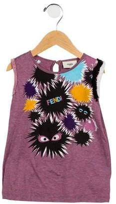 Fendi Girls' Sleeveless Graphic Top