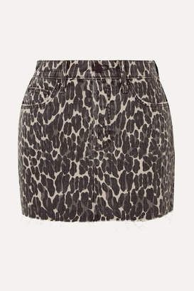 Mother The Vagabond Distressed Leopard-print Denim Mini Skirt - Leopard print