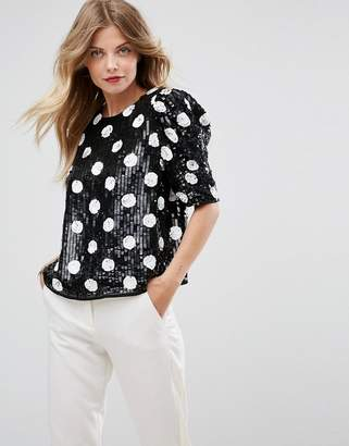 Asos DESIGN Spot Sequin Tee with Puff Sleeve