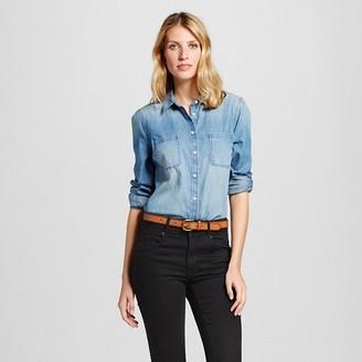 Merona Women's Denim Favorite Shirt Medium Indigo $24.99 thestylecure.com