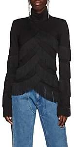 Y/Project Women's Fringed Jersey Mock Turtleneck Top - Black