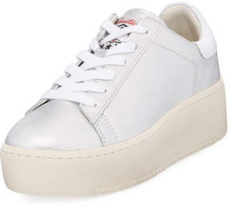 Ash Cult Leather Platform Sneaker, Silver