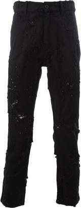 Ann Demeulemeester distressed cropped slim-fit jeans