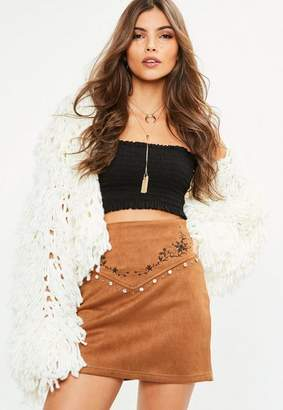 Missguided Brown Faux Suede Embroidered Stud Detail Mini Skirt