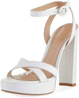 Gianvito Rossi Leather Ankle-Strap Platform Sandals
