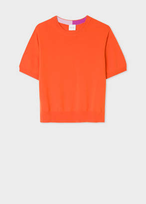 Paul Smith Women's Orange Short-Sleeve Cashmere Sweater