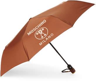 Moschino Brown Lettering Auto Open & Close Umbrella