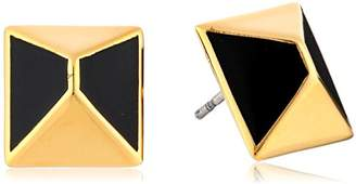 "Trina Turk Cubist House"" Gold-Plated Brass Pyramid with -Enamel Stud Earrings"