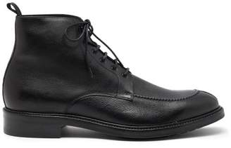 Paul Smith Trent Pebbled Leather Derby Boots - Mens - Black