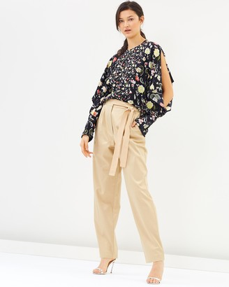 Cotton Viscose Twill Belted Pants