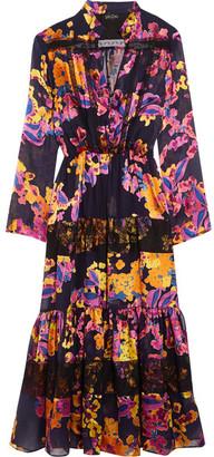 Saloni - Alyssa Lace-trimmed Ruffled Floral-print Chiffon Dress - Black $675 thestylecure.com
