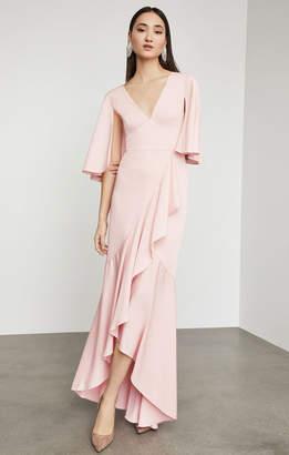 BCBGMAXAZRIA Satin Asymmetric Ruffle Gown
