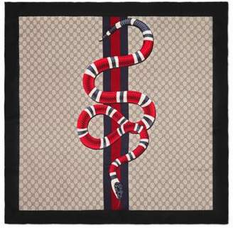 Gucci Web and Kingsnake print GG silk scarf
