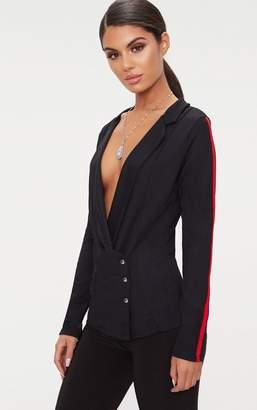 PrettyLittleThing Black Stripe Sleeve Popper Blazer