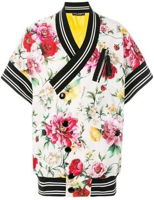 Dolce & Gabbana striped detail floral jacket