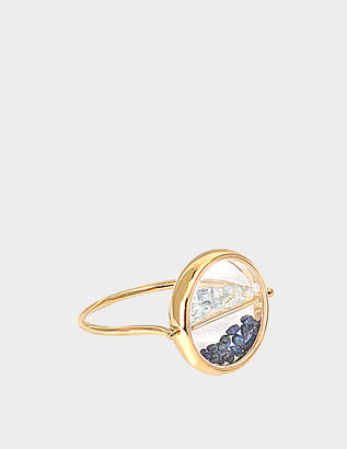 Large Empire Ring in 9K Gold, Grey Sapphire and Onyx Feidt Paris