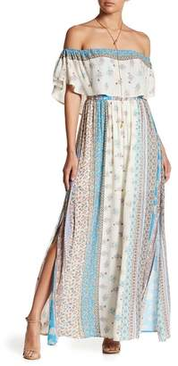 N. Tassels Lace Off-the-Shoulder Overlay Maxi Dress