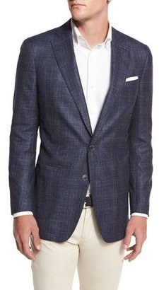 Peter Millar Rutherford Plaid Soft Sport Coat, Starlight Blue $898 thestylecure.com