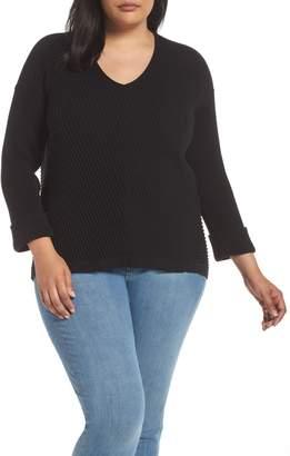 Caslon Cuff Sleeve Ribbed Sweater