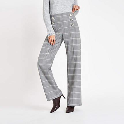 Womens Grey check button wide leg trousers