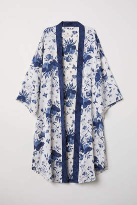 H&M Creped Satin Kimono - Light beige/patterned - Women