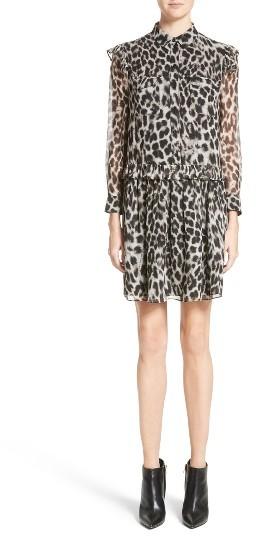 Women's Burberry Isaline Leopard Print Silk Dress
