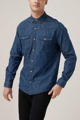 Next Mens Denim Long Sleeve Denim Western Shirt