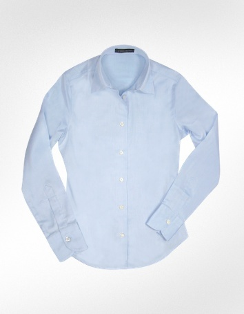 Forzieri Solid Light Blue Oxford Cotton Classic Fitted Blouse