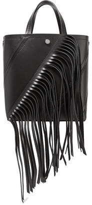 Proenza Schouler Hex Small Fringed Paneled Leather Tote - Black