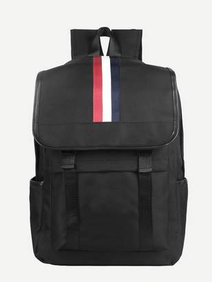 Shein Striped Detail Canvas Backpack