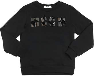 MSGM Mirrors Embellished Cotton Sweatshirt