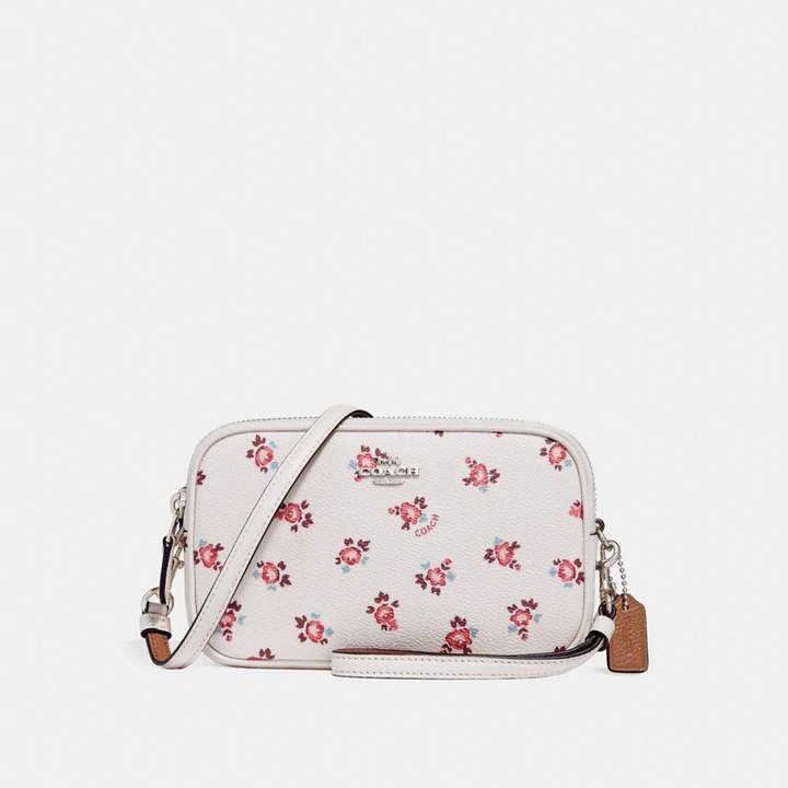Coach New YorkCoach Crossbody Clutch With Floral Bloom Print - CHALK FLORAL BLOOM/SILVER - STYLE