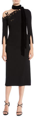Oscar de la Renta 3/4-Sleeve Illusion One-Shoulder Tie-Neck Crepe Wool Cocktail Dress