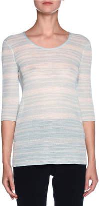 Giorgio Armani Striped 3/4-Sleeve Scoop-Neck Sweater, Light Blue/White