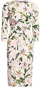 Dolce & Gabbana Women's Three-Quarter Sleeve Lily Print Dress