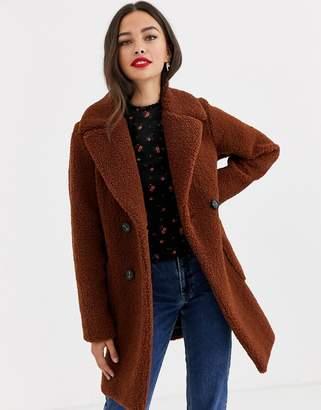 New Look teddy coat in rust