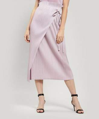 Pleats Please Issey Miyake Pleated Wrap-Around Midi-Skirt