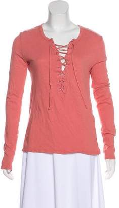 Pam & Gela Lace-Up Long Sleeve Top