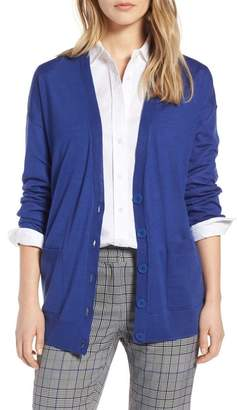 Halogen V-Neck Merino Wool Cardigan (Regular & Petite)