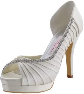 ElegantPark EP11064-IPF Women Peep Toe Platform High Heel Pleated Satin Rhinestones Wedding Party Shoes US 10