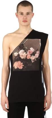 Raf Simons Printed Asymmetrical Cotton Jersey Top
