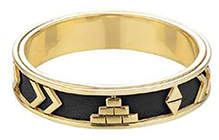 House Of Harlow Aztec Black Leather Bangle