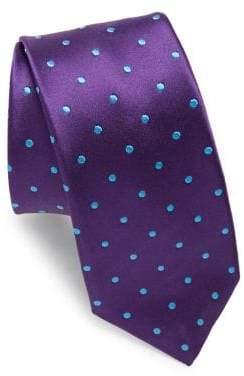 Ike Behar Purple Dots Silk Tie