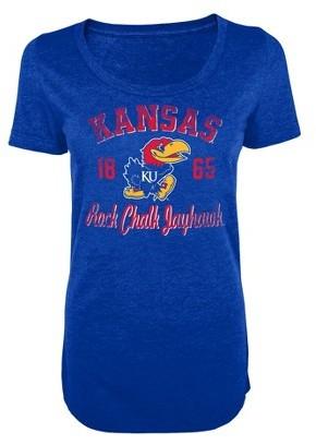 NCAA Kansas Jayhawks Juniors Scoop Tee Blue