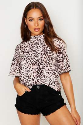 boohoo Woven Leopard Angel Sleeve Shell Top