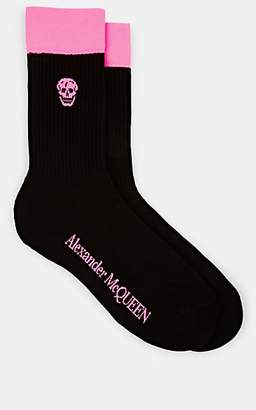 Alexander McQueen Men's Skull-Motif Cotton-Blend Socks - Black