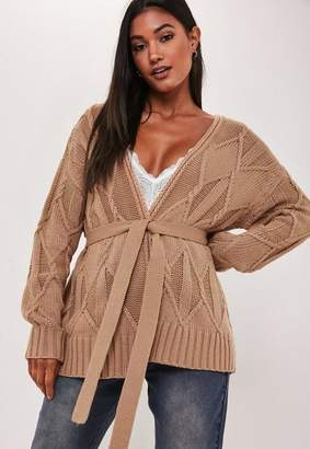 Missguided Camel Cable Knit Belted Cardigan