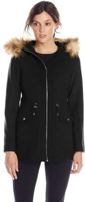 Jessica Simpson Outerwear Women's Wool Anorak with Faux Fur Trim Hood