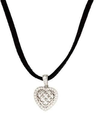18K Diamond Heart Cord Necklace
