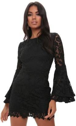 3dc50dc8318 I SAW IT FIRST Black Crochet Lace Flare Sleeve Dress